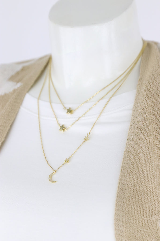 Star & Crescent Layered Necklace