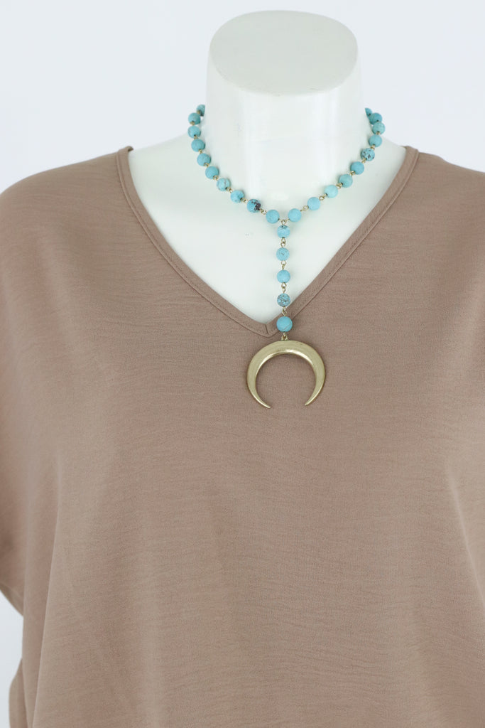Horn Pendant Stone Y Necklace