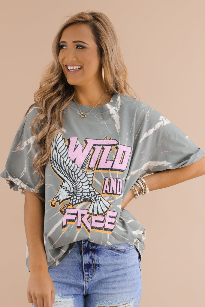 Bleached Wild And Free Graphic Top