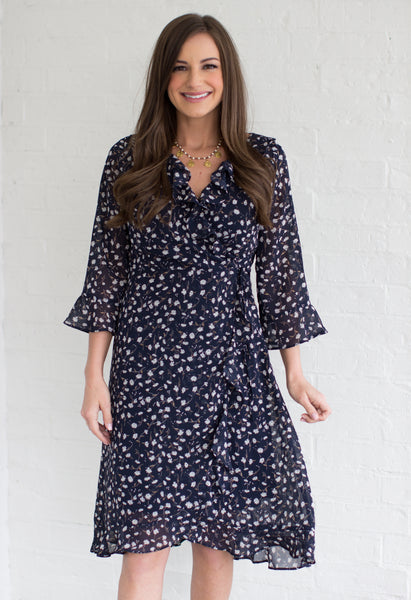 Get Along Floral Print Wrap Dress: Navy