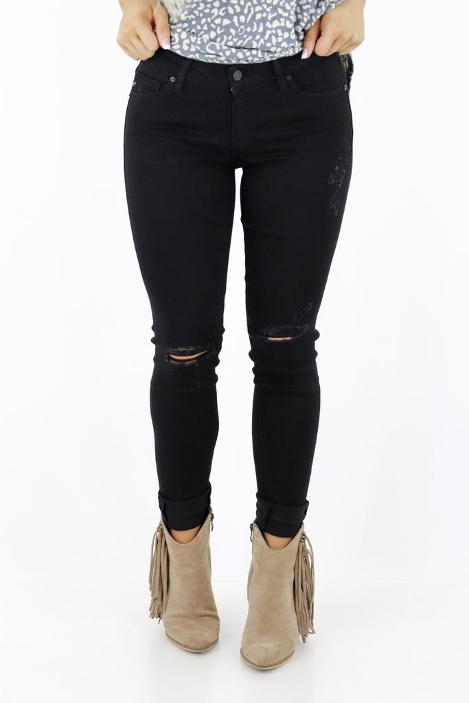 Works For Me Distressed Skinny Jeans