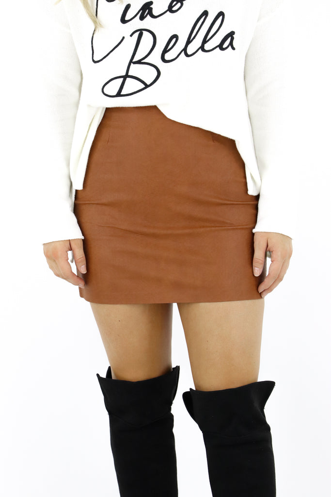 Time To Live Faux Leather Skirt