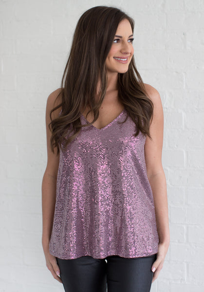 Touch Of Serendipity Sequin Tank: Blush