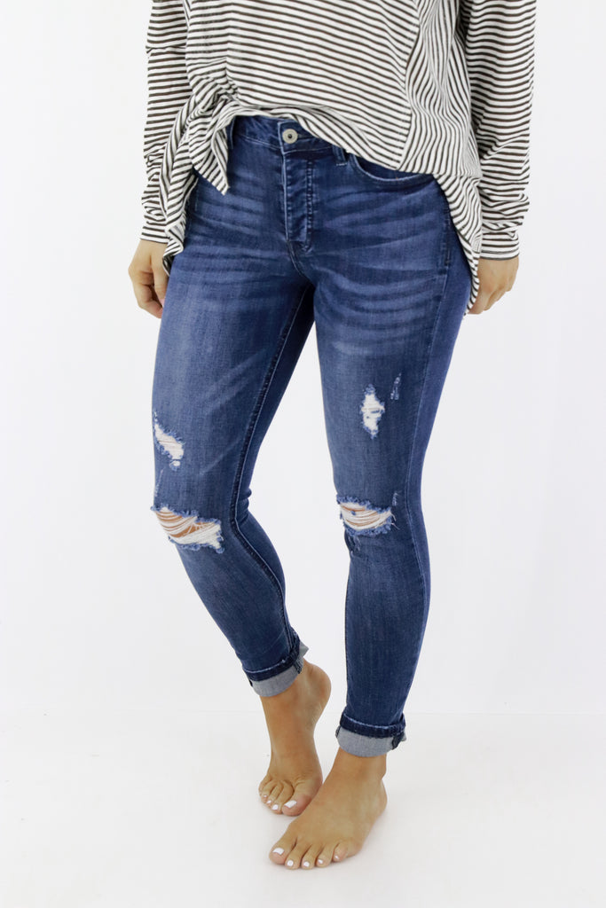 Beyond Basic Distressed Skinny Jeans