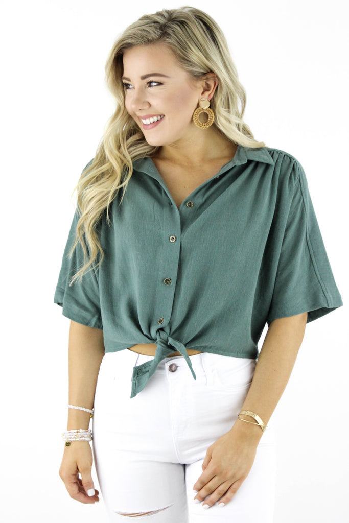 Hard To Handle Crop Button Down Top
