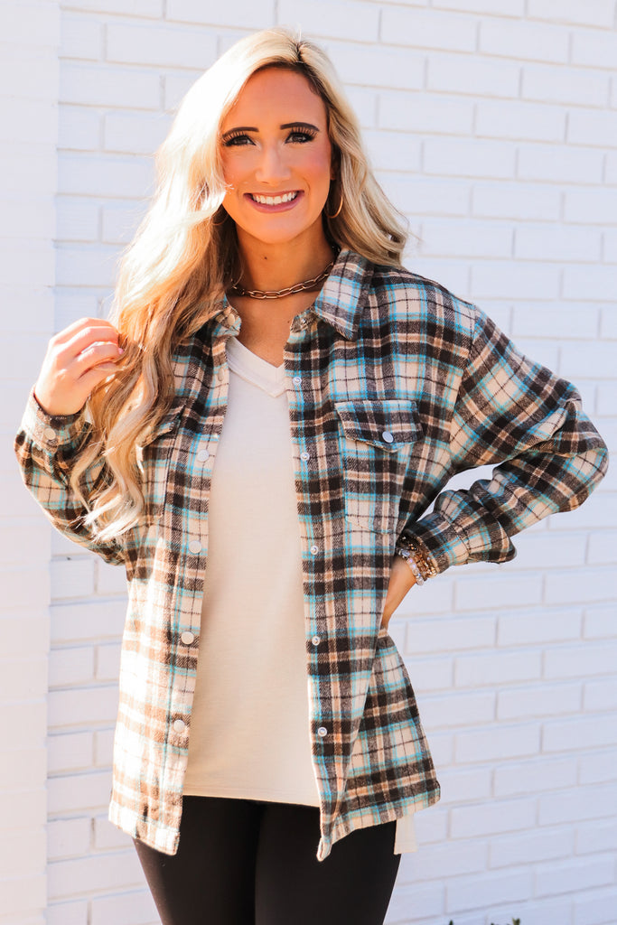 Frosted Morning Plaid Flannel Top