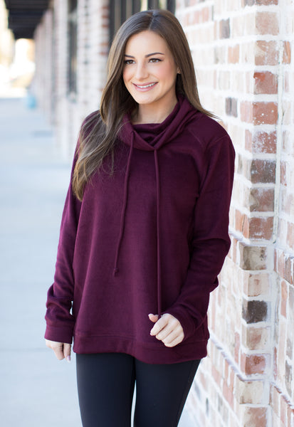Save Me From Myself Pullover Top: Burgundy