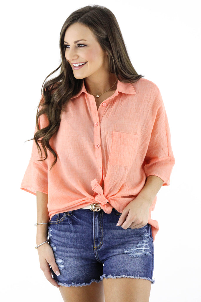 Won't Listen Button Down Blouse