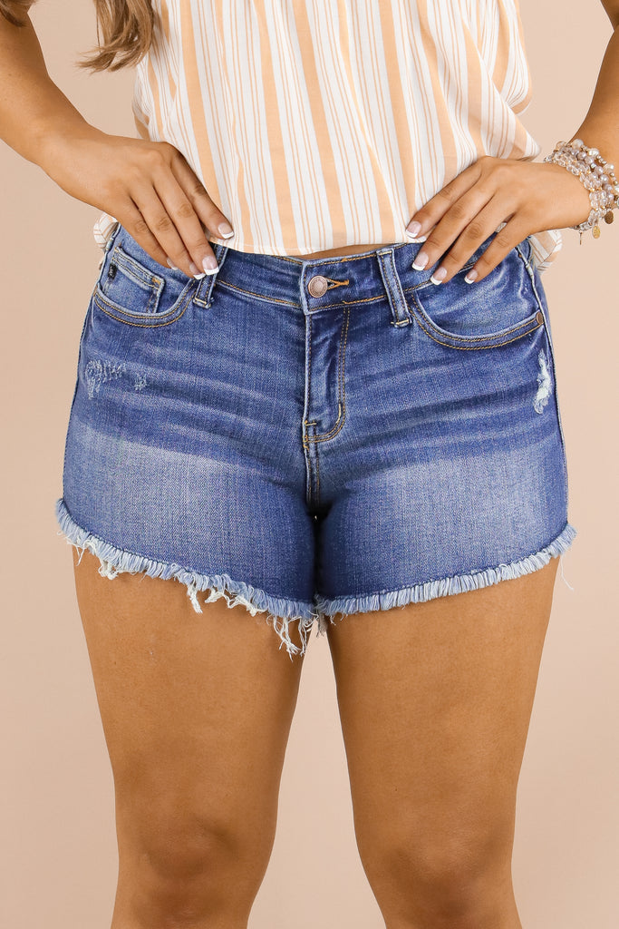 Not To Blame Mid Rise Denim Shorts