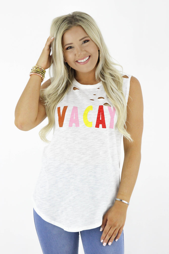 Distressed Vacay Graphic Tank Top