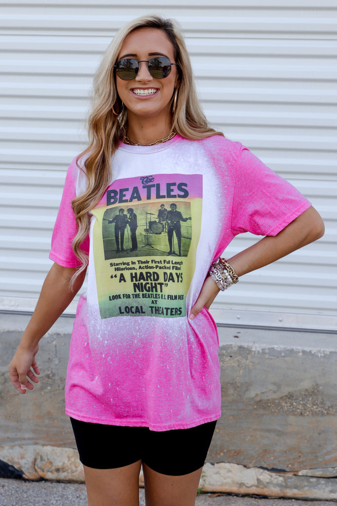 The Beatles Debut Bleached Graphic Top