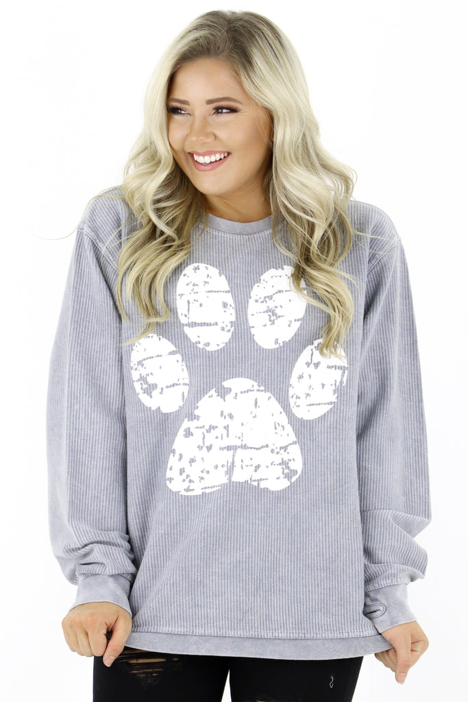 Distress Paw Graphic Pullover