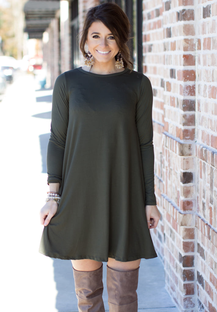 You're Just So Happy Dress: Olive