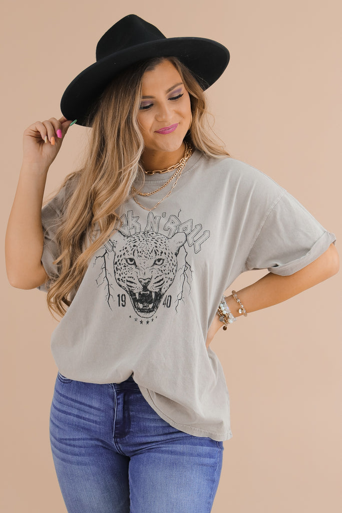 Rock N' Roll Cheetah Oversized Graphic Top