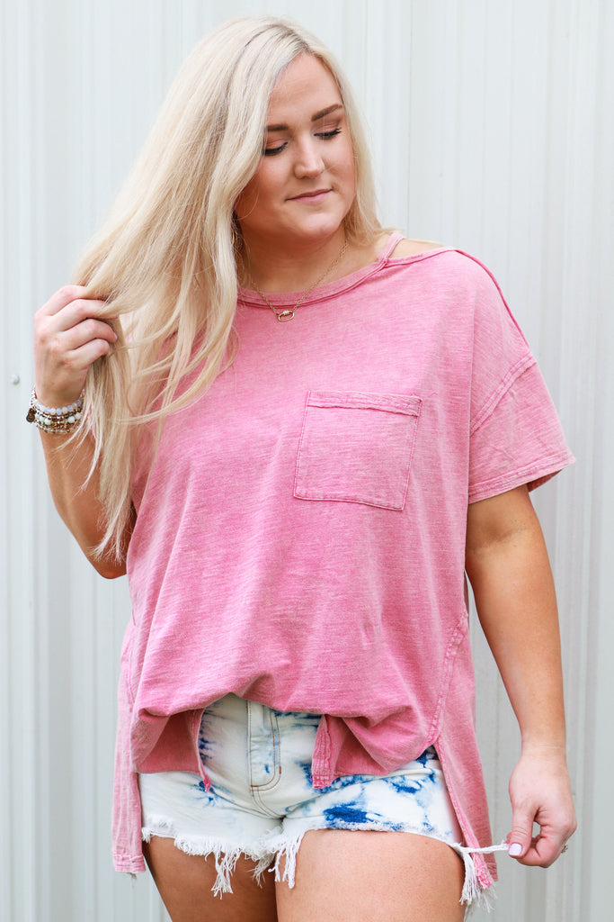 CURVY: Captivate Me Washed Knit Top