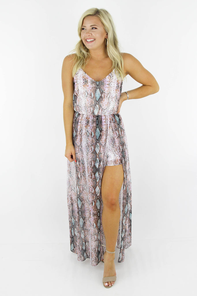 Break Your Heart Snake Maxi Romper