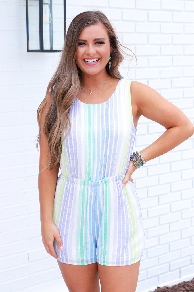 Rose To The Occasion Striped Romper