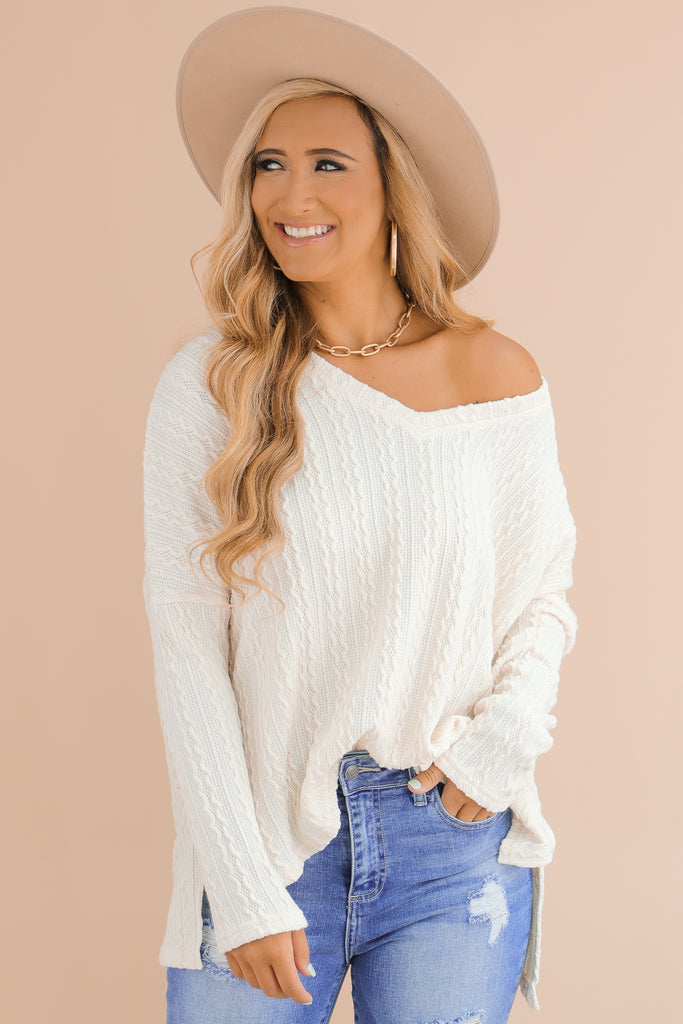 Rushing Back To You Textured Sweater