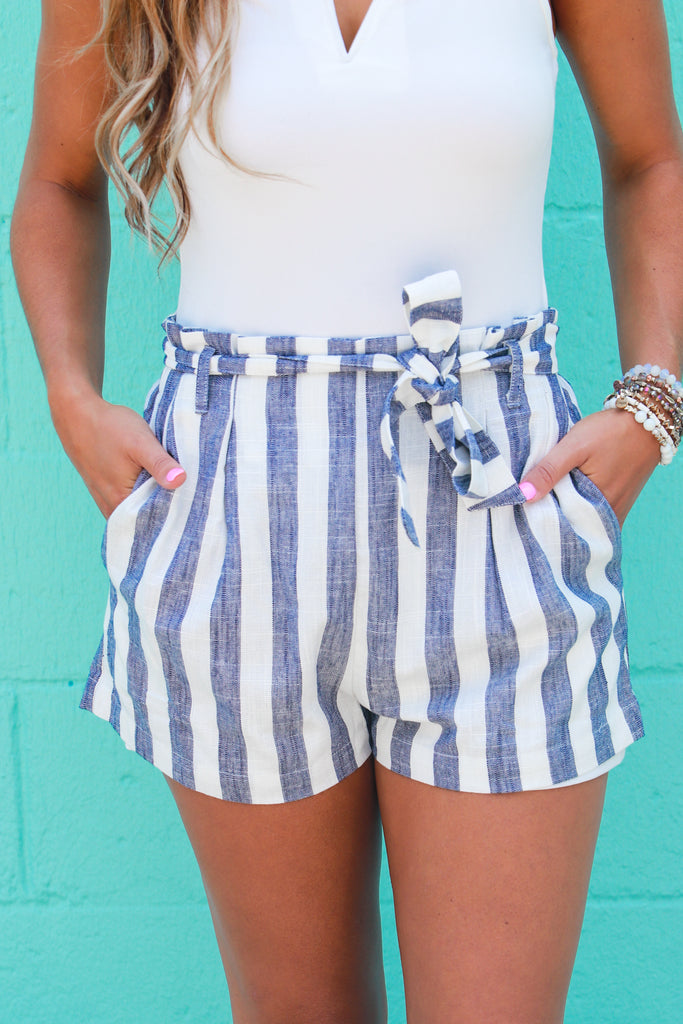 You Should Be Mine Striped Shorts