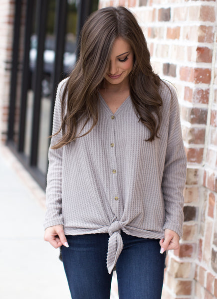 Every Voice Waffle Knit Top: Mocha