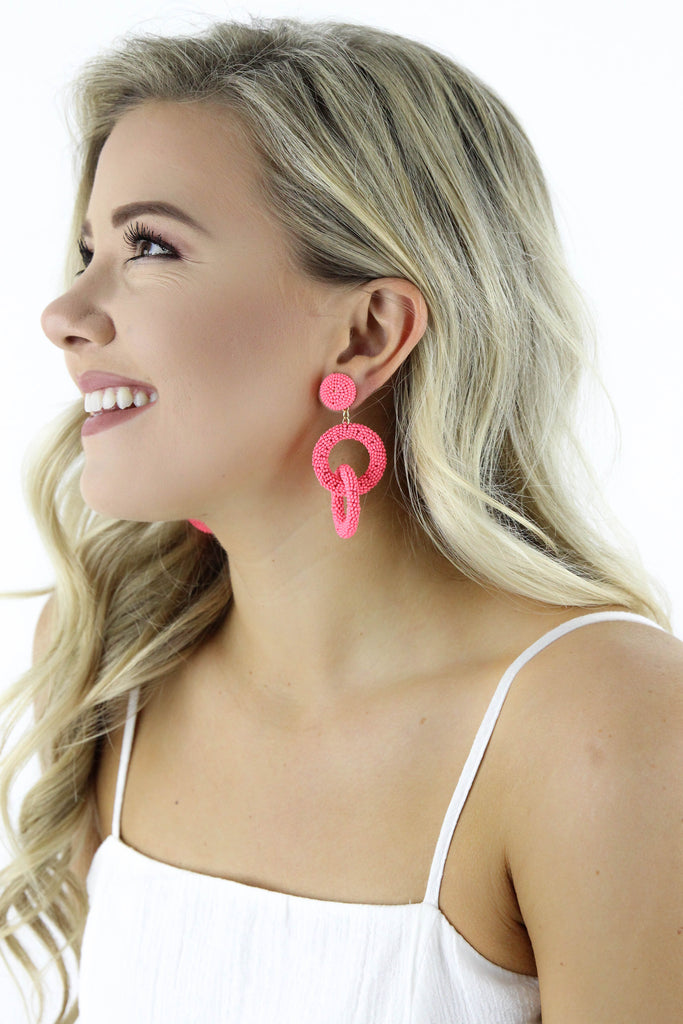 Ring Of Pop Beaded Earrings: Available in 2 Colors