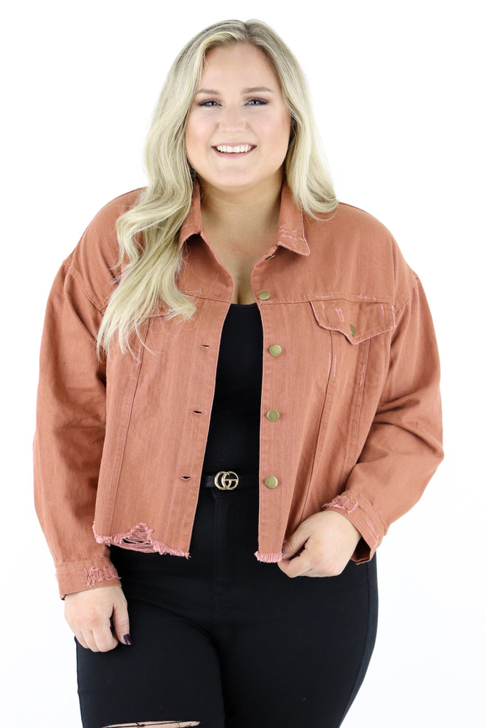 CURVY: Anywhere She Goes Cropped Denim Jacket