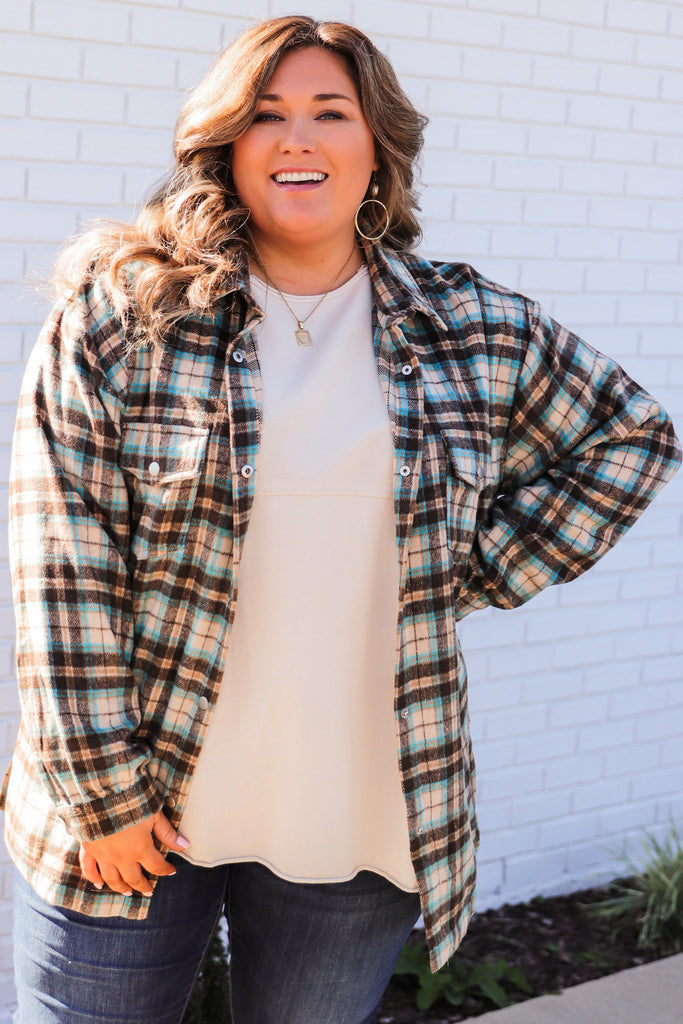 CURVY: Frosted Morning Plaid Flannel Top