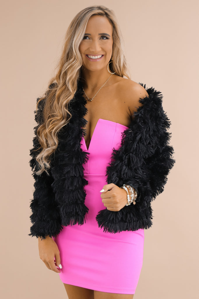 Stand Tall Layered Faux Fur Jacket