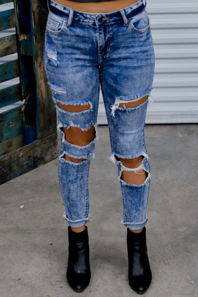 Something To Talk About Mid Rise Distressed Skinny