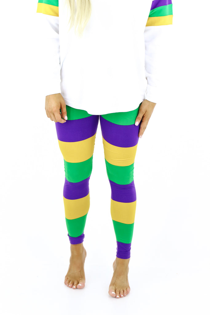 Mardi Gras Color Block Leggings