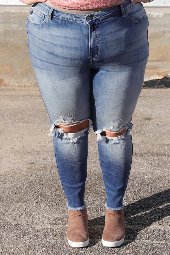 CURVY: Right Through You Mid Rise Distressed Skinny