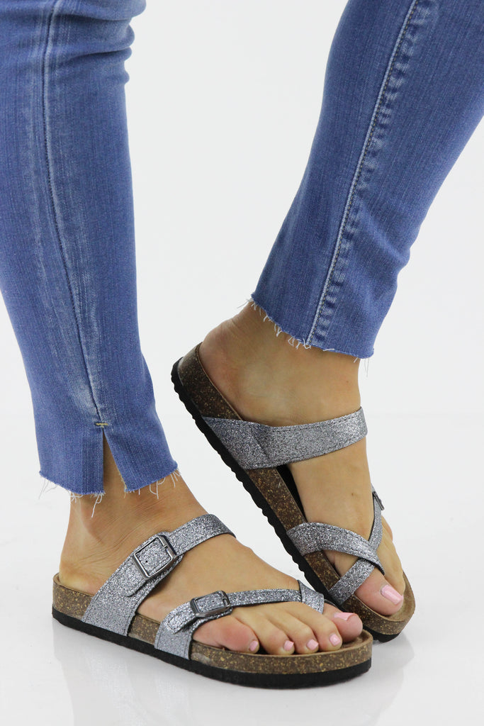 Birk Inspired Glitter Cross Toe Sandals