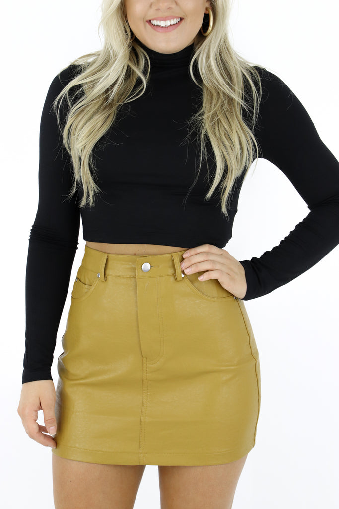 Call Me Popular Faux Leather Skirt