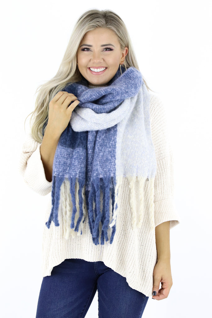 Plaid Fringe Wrap Scarf