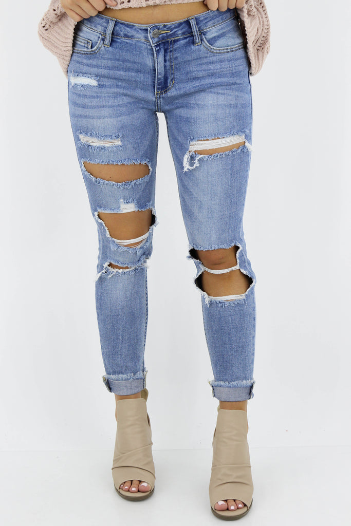 RESTOCK: Something To Talk About Mid Rise Distressed Skinny