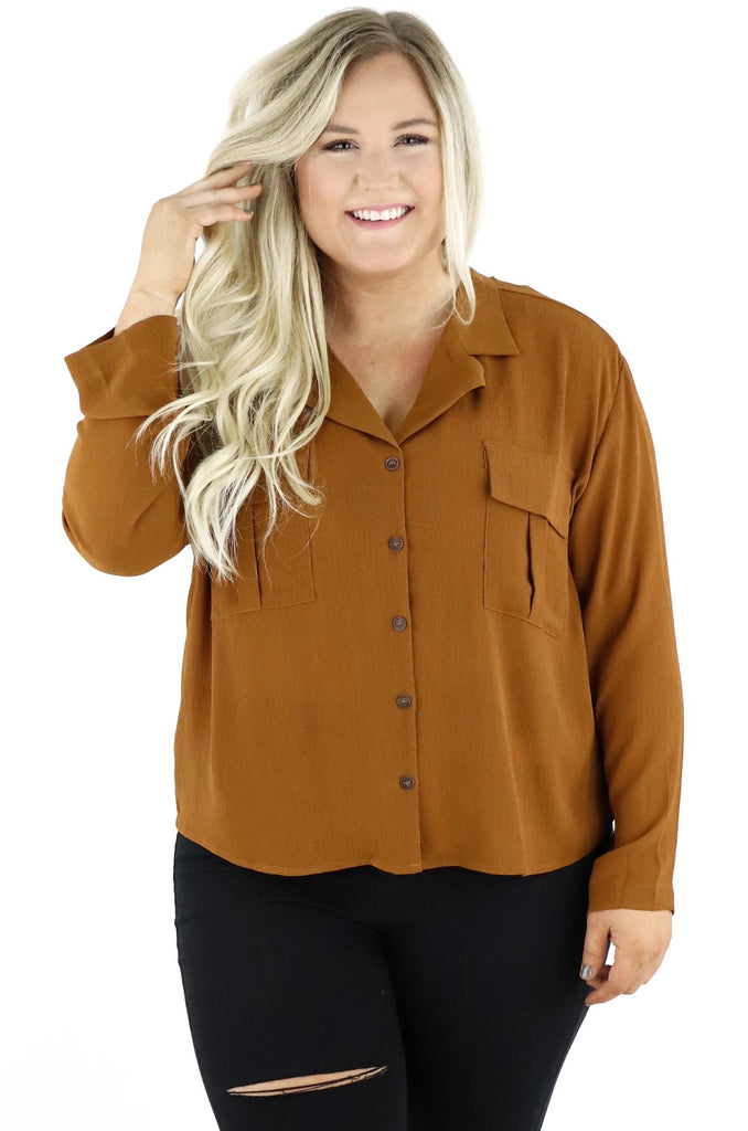 CURVY: Steal You Away Button Down Blouse