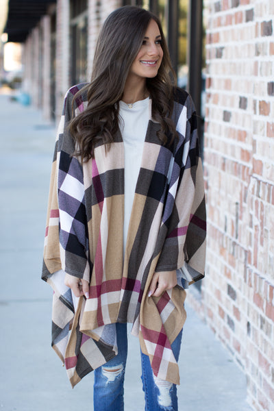 Wrapped Up Plaid Poncho: Taupe Multi