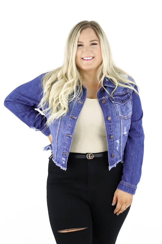 CURVY: Define The Era Distressed Denim Jacket