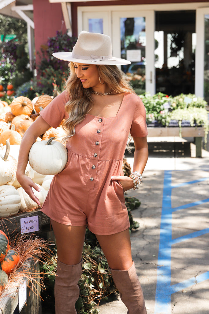 All Night Long Button Down Romper
