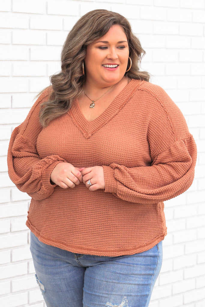 CURVY: Wait In Anticipation Waffle Knit Top