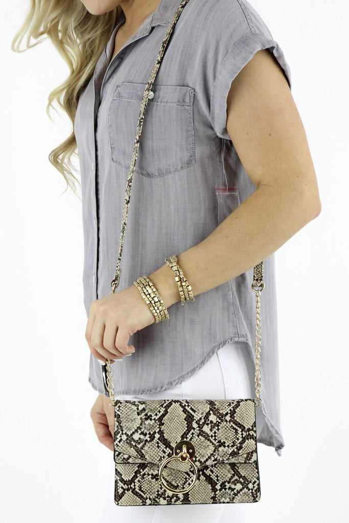 Snake Skin Door Knocker Accent Clutch