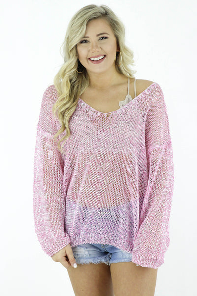 Gone Coastal Knit Long Sleeve Top: Available in 2 Colors