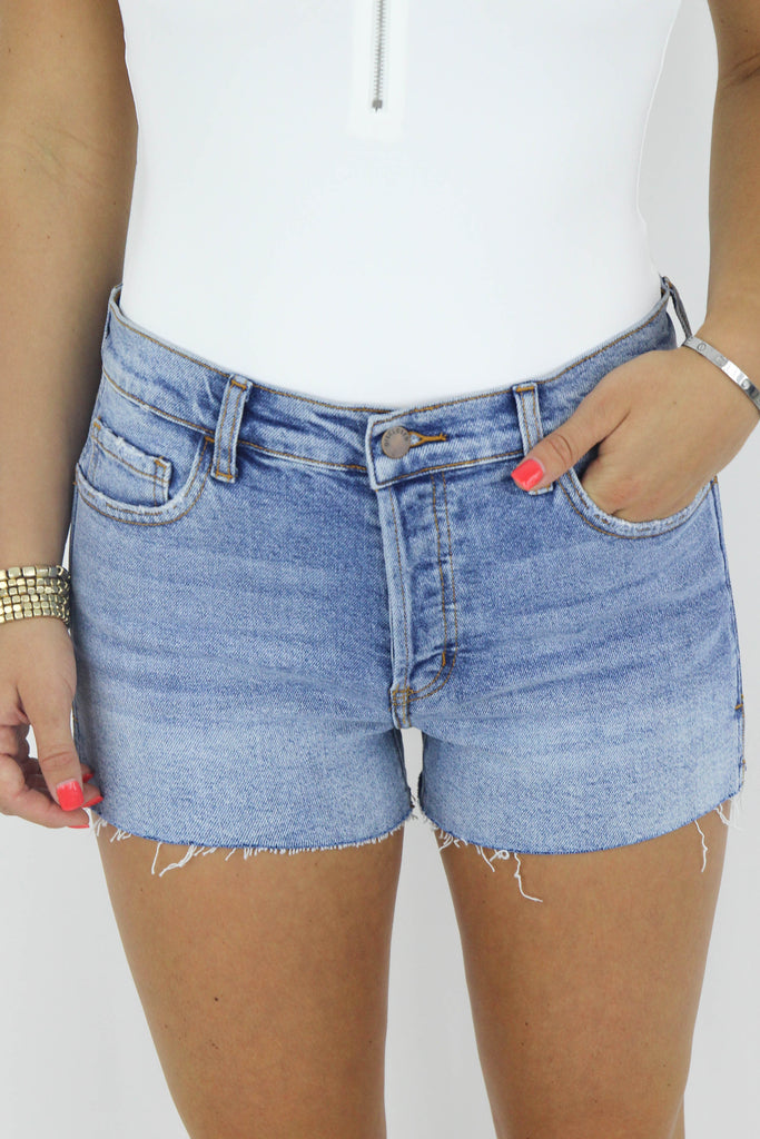 One Day Soon High Rise Distressed Shorts