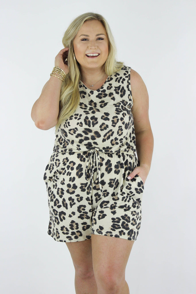 CURVY: Basically Chic Leopard Print Romper