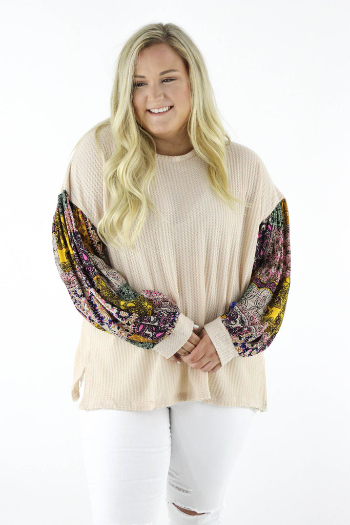 CURVY: Think About Me Waffle Knit Top