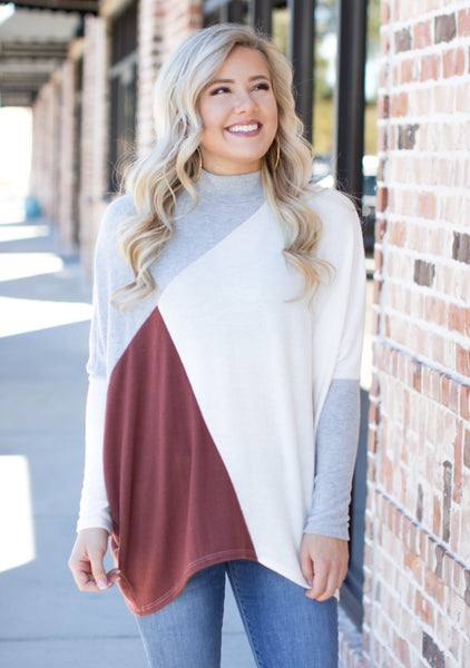 Whimsically Warm Turtle Neck Top: Coco Multi