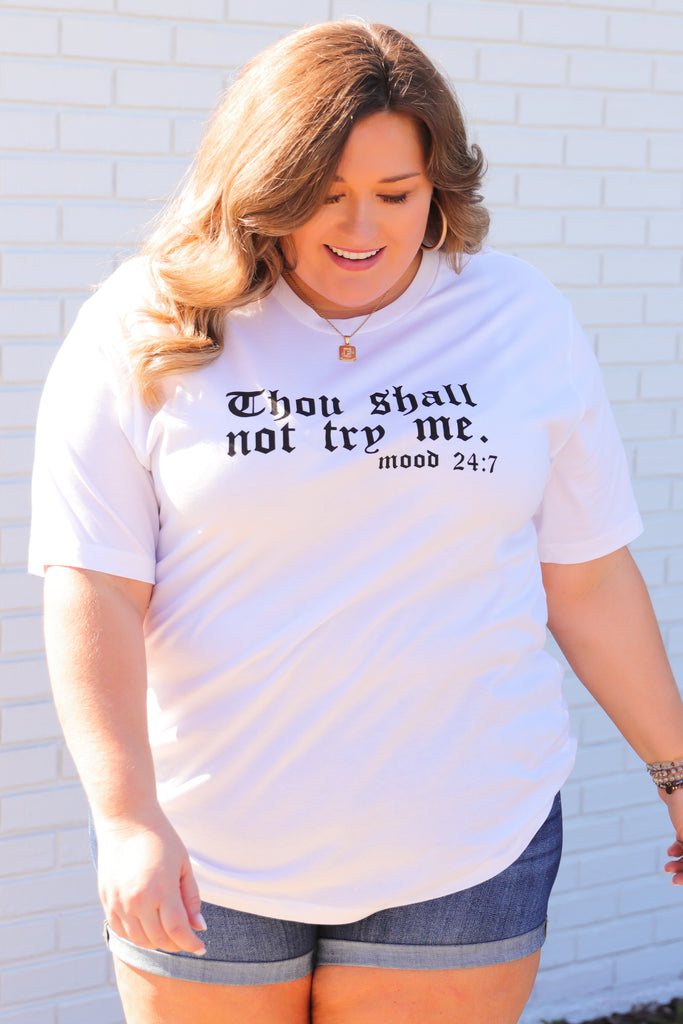 CURVY: Thou Shall Not Try Me Graphic Top