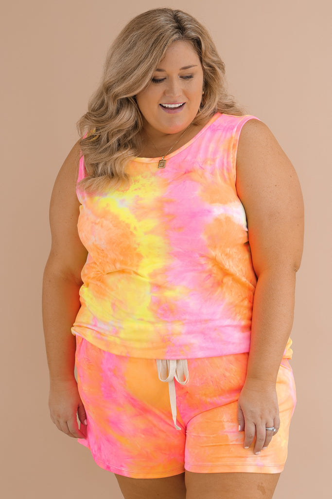 CURVY: Chasing Sunsets Tie Dye Top