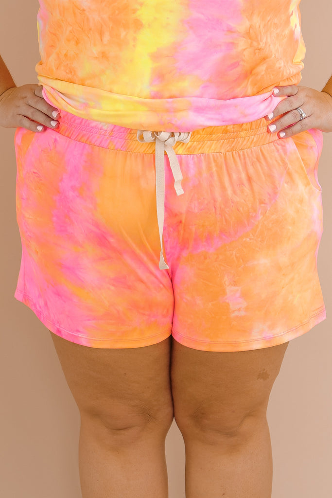 CURVY: Chasing Sunsets Tie Dye Shorts