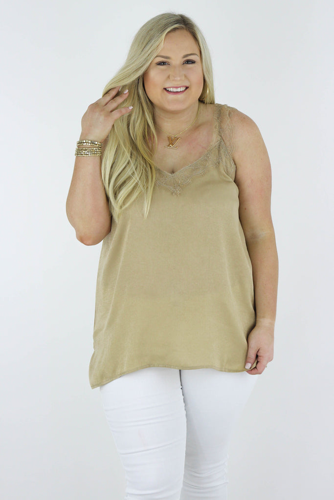 CURVY: Happiness Calls Lace Tank